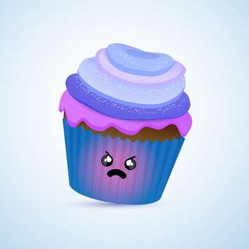 colorful illustration of blue angry cupcake with mad facial expression on blue background - vector gratuit(e) #125733
