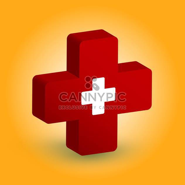 Vector illustration of medical symbol of white cross in red cross on orange background - Free vector #125743