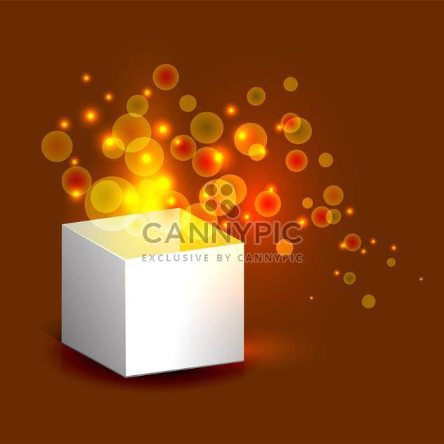 Vector illustration of magic gift box with gold light on brown background - Free vector #125763