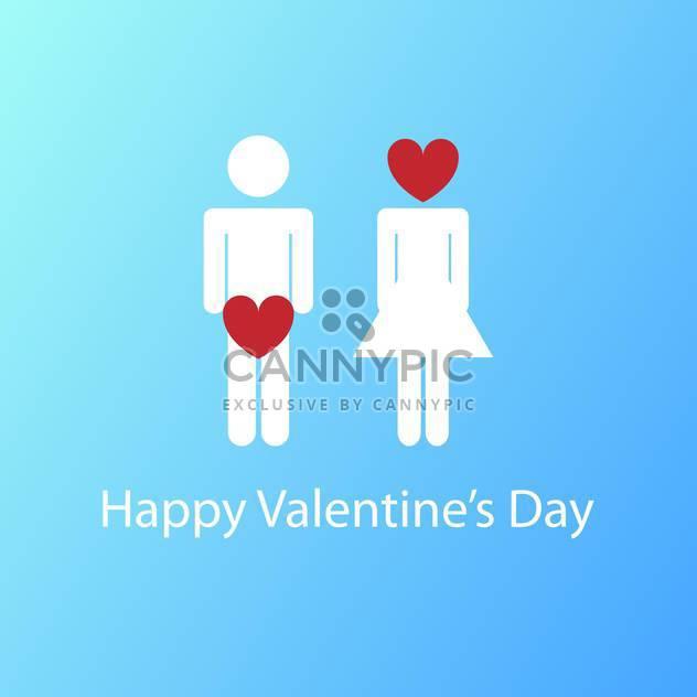 Vektor-Illustration von Valentinstagskarte mit Mann und Frau-Schilder und rote Herz Gedanken auf blauem Hintergrund - Kostenloses vector #125773