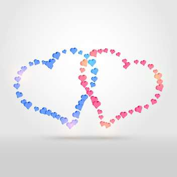 Vector background with two colorful hearts on white background - vector #125813 gratis