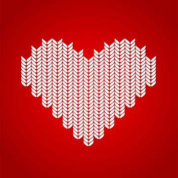 Vector illustration of red background with white knitted heart - Free vector #125833