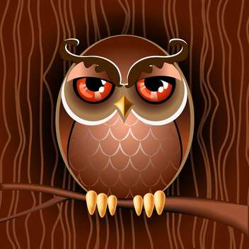 Vector illustration of brown owl with big eyes sitting on branch - vector gratuit(e) #125843