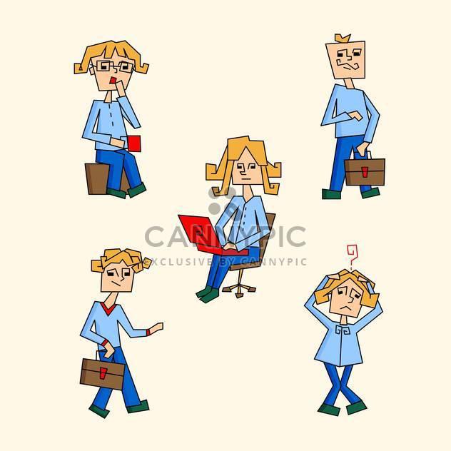 Vektor-Illustration der Geschäft Leute Symbolsatz auf Beige Hintergrund - Free vector #125873