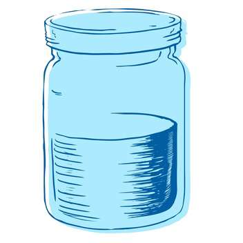 Vector illustration of glass jar with water on white background - бесплатный vector #125893