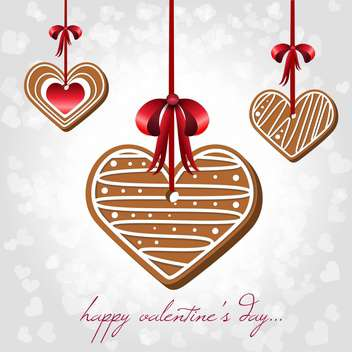 Vector card for Valentine's Day with hearts shaped cookies - vector gratuit #125903