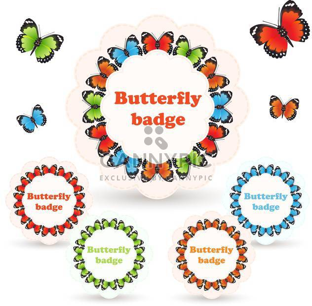 Vector illustration of colorful badges with butterflies on white background - Free vector #125923