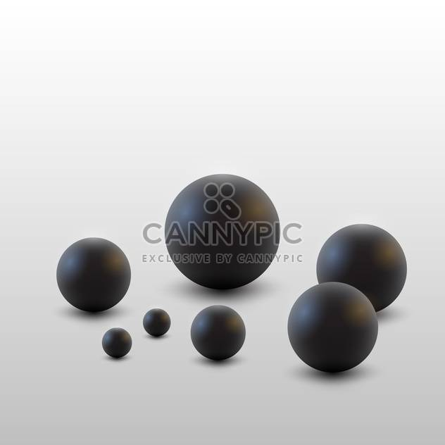 Vector illustration of round black balls on white background - Free vector #125943