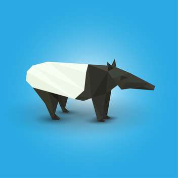 Vector illustration of paper origami tapir on blue background - vector gratuit #125953