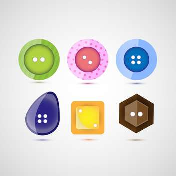 Vector set of six different colorful buttons - Free vector #126003