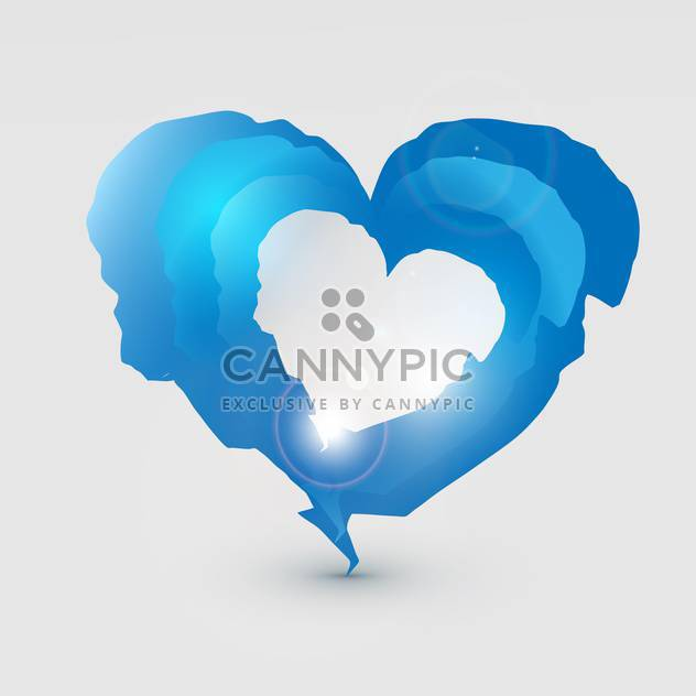 Vector illustration of blue sparkling torn heart on grey background - Free vector #126023
