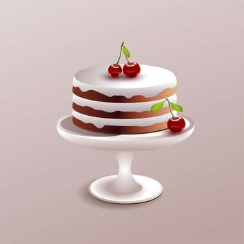 Vector illustration of sweet cake with red ripe cherry on pink background - Free vector #126083