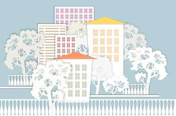 vector illustration of beautiful colorful architectural background with trees - vector gratuit(e) #126093