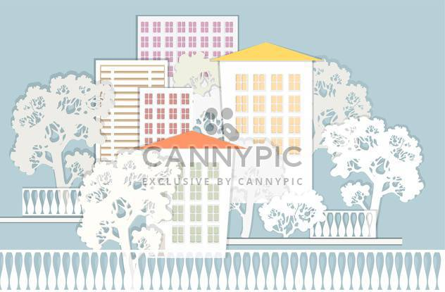 vector illustration of beautiful colorful architectural background with trees - Free vector #126093