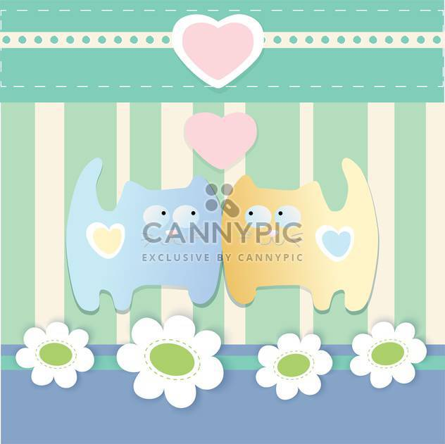 Vector cute background with lovely cats and hearts - Free vector #126103