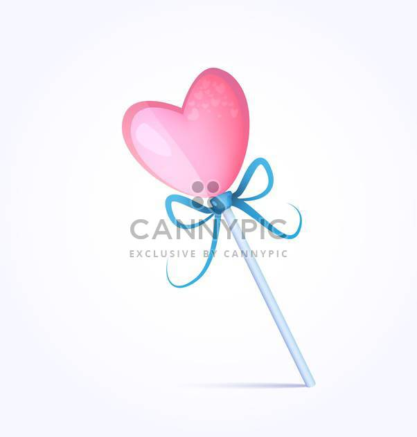 Vector illustration of heart shape pink candy on white background - Free vector #126143