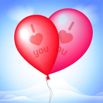 Vector illustration of two red balloons on blue background with i love you sign - vector gratuit(e) #126183