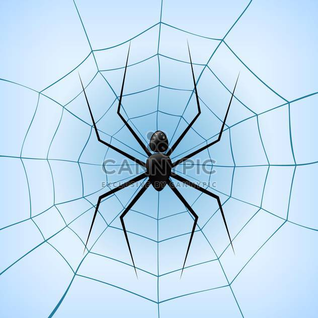 Vector illustration of spiderweb with black spider on blue background - Free vector #126223