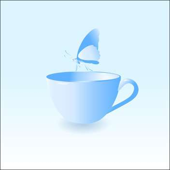 Vector illustration of blue empty cup with butterfly on blue background - vector gratuit #126233