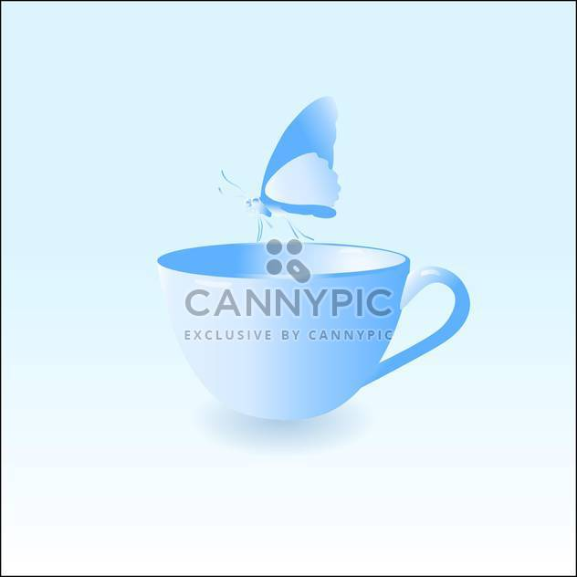 Vector illustration of blue empty cup with butterfly on blue background - Free vector #126233