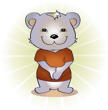Vector illustration of cute cartoon bear on white background - Free vector #126253