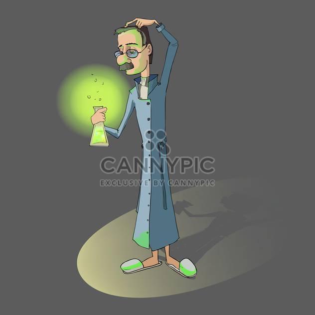 Vektor-Illustration des Chemikers mit Kolben in der Hand auf grauen Hintergrund - Kostenloses vector #126313