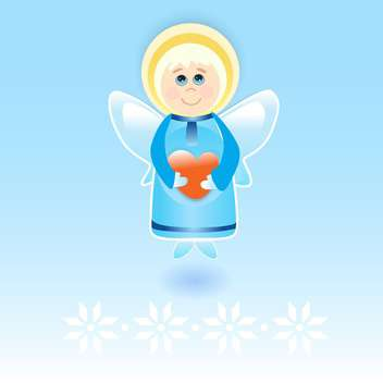 Vector illustration of cute little angel with red heart in hands on blue background - vector gratuit #126343