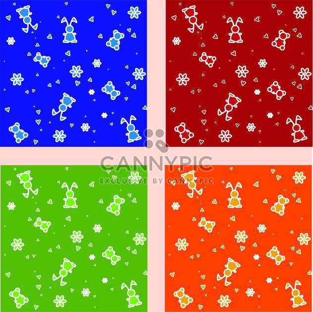 Vector set of colorful backgrounds with cute repeat toys - Free vector #126383