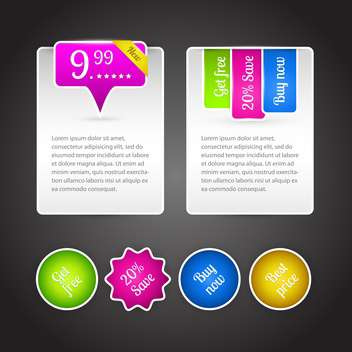 Vector set of colorful banners for sale on dark background - vector #126413 gratis