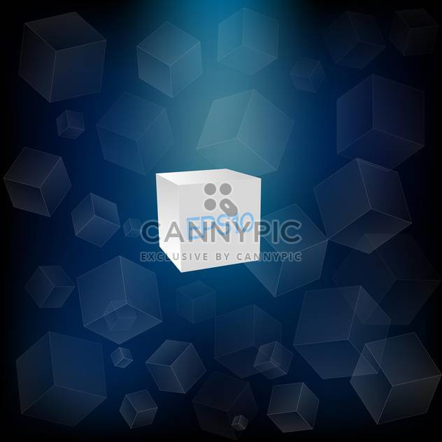 Vector abstract blue background with white cubes - Free vector #126433