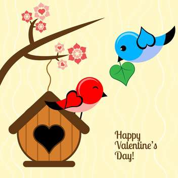 Vector card for Valentine's day background with birds - бесплатный vector #126483