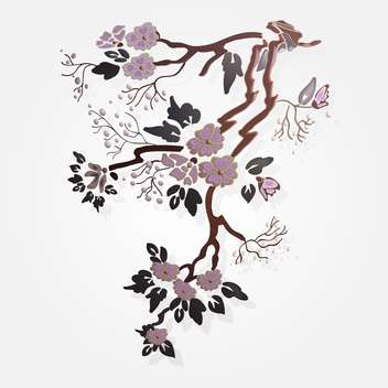 Vector illustration of sakura branch on white background - Free vector #126543
