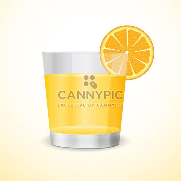 Vector illustration of glass with orange juice and orange segment on beige background - Free vector #126583