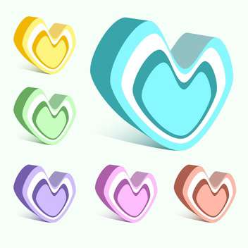 Vector set of colorful hearts on white background - vector gratuit #126603
