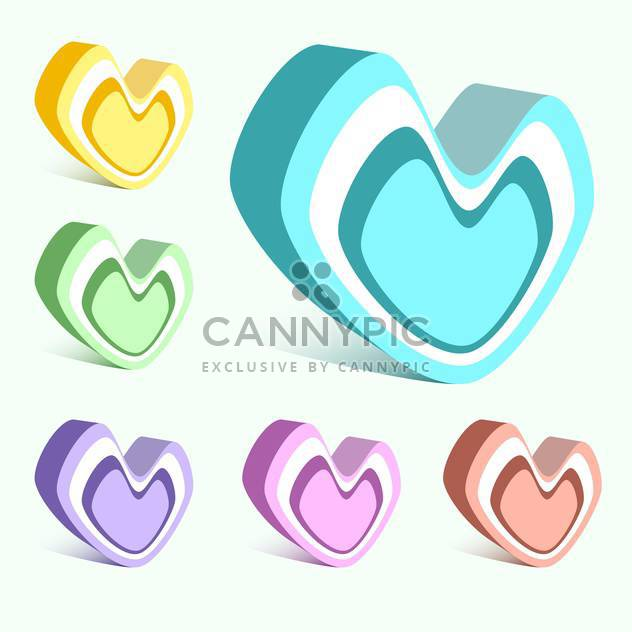 Vector set of colorful hearts on white background - Free vector #126603