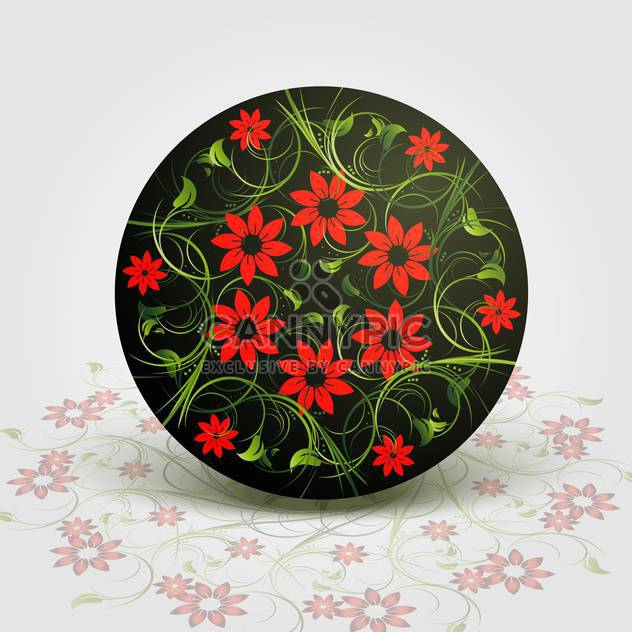 Vector illustration of floral background with red flowers in circle - Free vector #126663