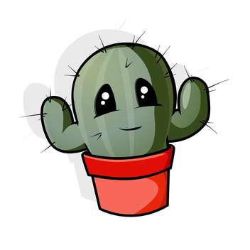 Vector illustration of green cartoon cactus in pot on white background - бесплатный vector #126673