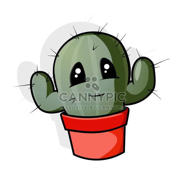 Vector illustration of green cartoon cactus in pot on white background - Free vector #126673