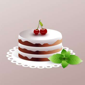 sweet cherry cake on plate on grey background - vector gratuit(e) #126753