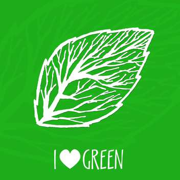 Vector ecology sign with i love green text and green leaf - vector #126763 gratis