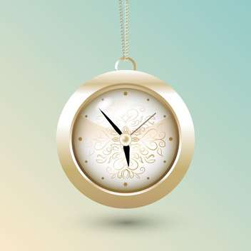 pocket watch on gold chain on blue background - vector gratuit #126833