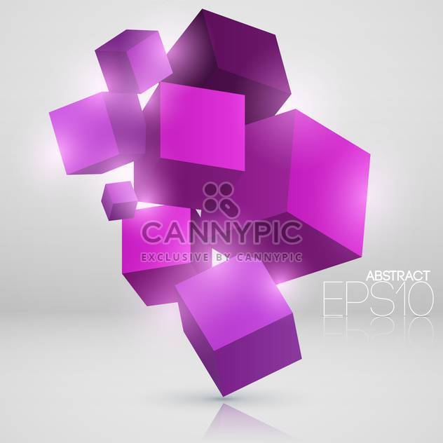 Vector abstract background with purple cubes - Free vector #126883