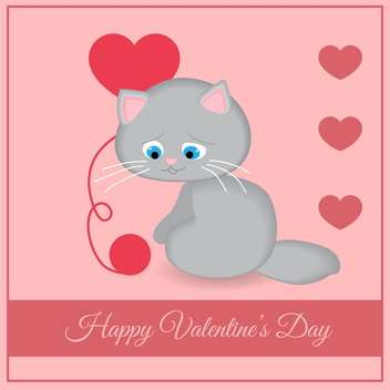 Vector greeting card with cat with hearts for Valentine's day on pink background - vector gratuit(e) #126943