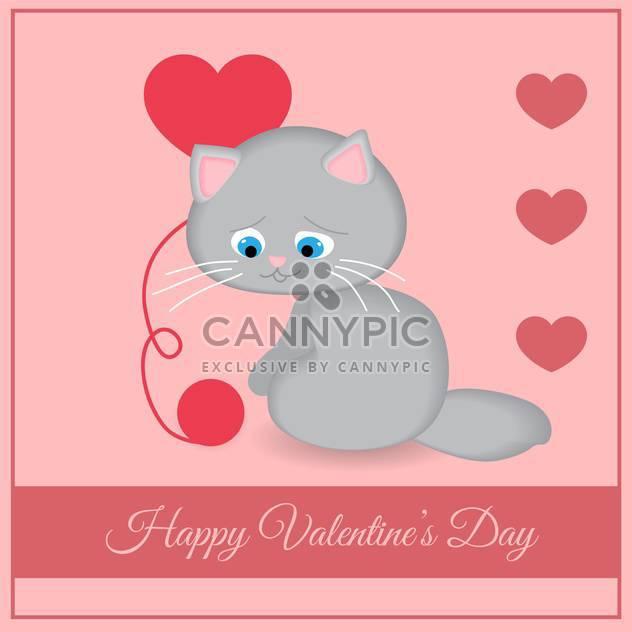 Vektor-Grußkarte mit Katze mit Herzen zum Valentinstag auf rosa Hintergrund - Free vector #126943