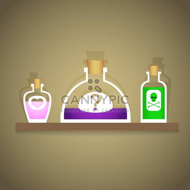 Vector illustration of bottles with various liquids - Free vector #126953
