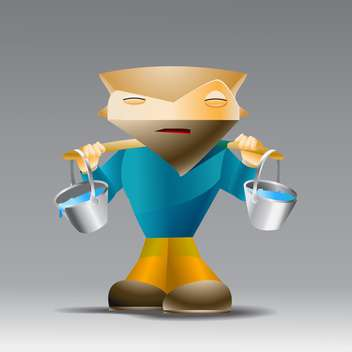 Vector illustration of cartoon man with buckets of water on grey background - vector gratuit #126993