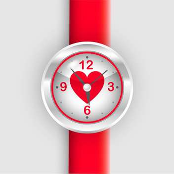 Vector red wrist watch with heart on white background - Free vector #127003