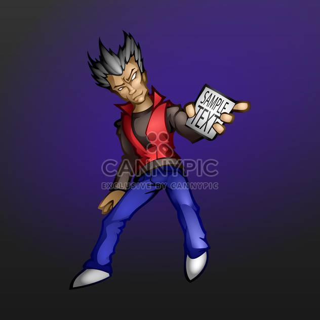 Vector illustration of man with card in hand for text on dark blue background - Free vector #127013