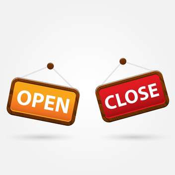 colorful open and closed signs on white background - бесплатный vector #127083
