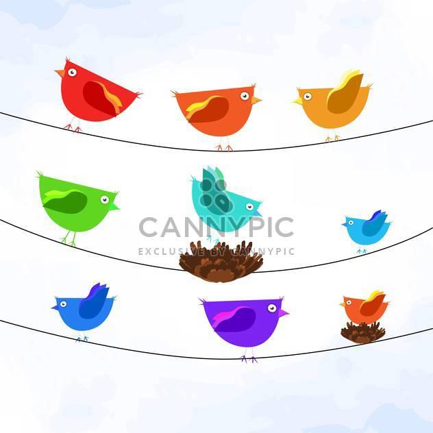 Vektor-Illustration von bunten Vögeln auf Drähte auf weißem Hintergrund - Kostenloses vector #127093